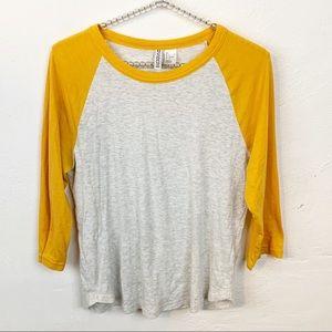 Divided l H&M Mustard Sleeve Baseball T-shirt